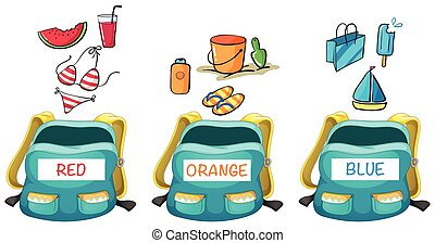 Three backpacks with different color items in it