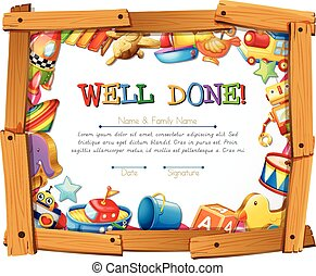 Certificate template with toys around the frame illustration