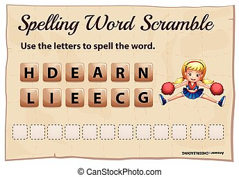 Spelling scramble game template for cheerleading...