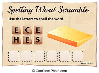 Spelling word scramble game with word cheese