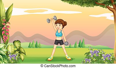 Woman doing weighlifting in the park illustration