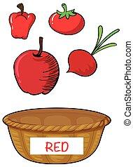 Red vegetables in red basket