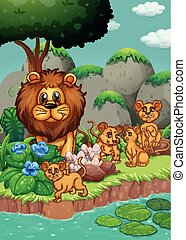 Lion family living in the forest