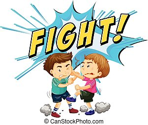 Two boys fighting with word background