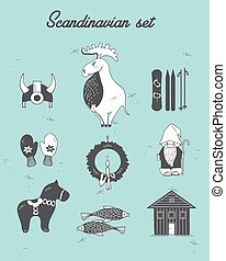 Set with design elements of symbols Sweden, Denmark, Iceland