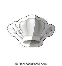 sticker chef hat with cutlery kitchen elements
