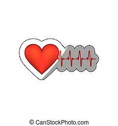 sticker heart shape with beats and signs life vector...