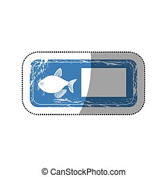sticker old blue rectangle banner with silhouette fish inside