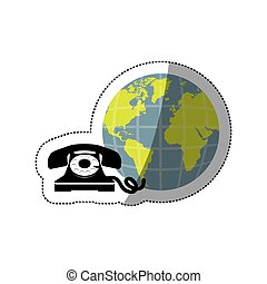 sticker opaque earth world with silhouette antique phone...