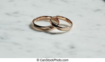 Two rings on marble shines - Two rings on marble background...