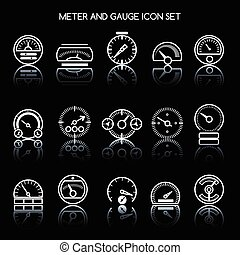Meter and gauge icon set for control panel. Vector car...