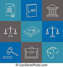 Law and justice thin line icons. Juridical legal linear...