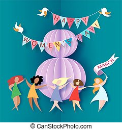 Card for 8 March womens day. Abstract background with text...