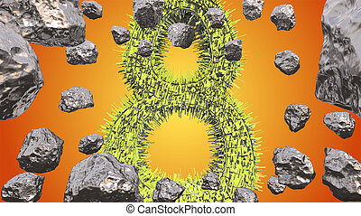 8 March symbol. Figure of eight made of green city blocks flying in the space with asteroids. Can be used as a decorative greeting grungy or postcard for international Woman's Day. 3d illustration