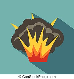 Projectile explosion icon, flat style - Projectile explosion...