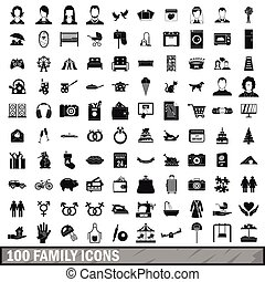100 family icons set in simple style
