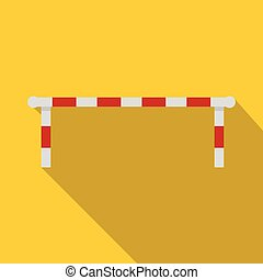 Striped barrier icon, flat style - Striped barrier icon....