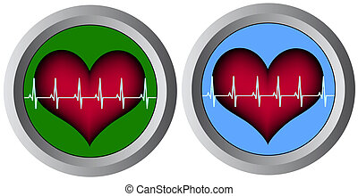 two hearts with cardiogram