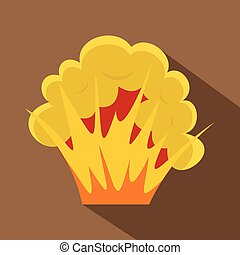Flame and smoke icon, flat style - Flame and smoke icon....