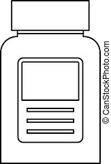 Pill bottle icon, outline style - Pill bottle icon. Outline...