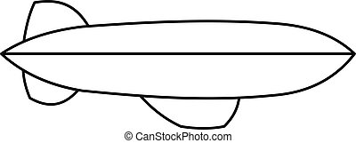 Dirigible icon, outline style - Dirigible icon. Outline...