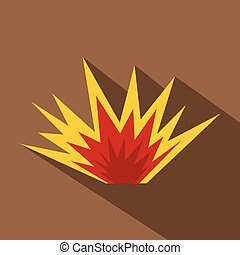 Nuclear explosion icon, flat style - Nuclear explosion icon....
