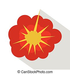 Cloudy explosion icon, flat style - Cloudy explosion icon....