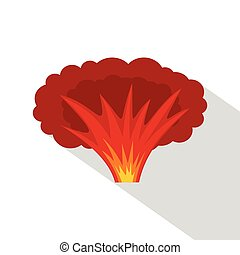 Atomical explosion icon, flat style - Atomical explosion...
