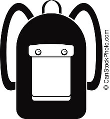 Backpack icon, simple style - Backpack icon. Simple...