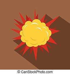 Terrible explosion icon, flat style - Terrible explosion...