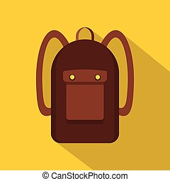 Backpack icon, flat style - Backpack icon. Flat illustration...