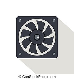 Computer power supply fan icon, flat style - Computer power...