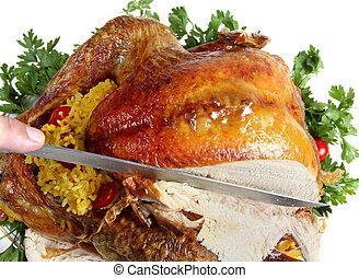 Roast turkey being carved - Carving a roast turkey for...