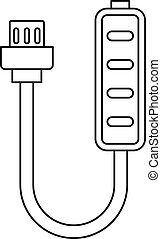 Charger icon, outline style - Charger icon. Outline...