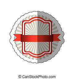 sticker radial background with red rectangle heraldic frame and ribbon