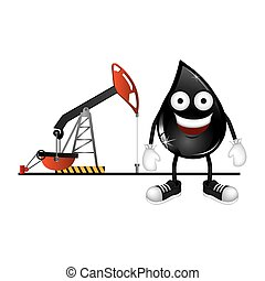 animated drop of petroleum and background oil extraction