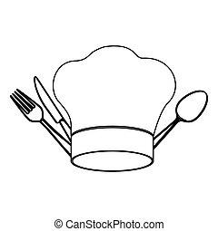 silhouette chef hat with cutlery kitchen elements
