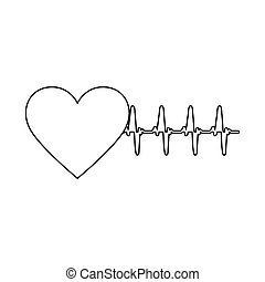 silhouette heart shape with beats and signs life vector...