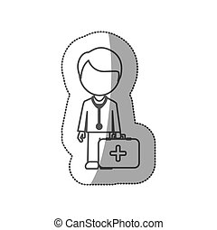 grayscale contour sticker with doctor with blood donation equipment