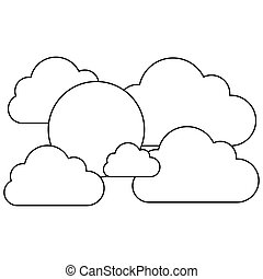 silhouette cloudscape with cumulus shape and sun vector...