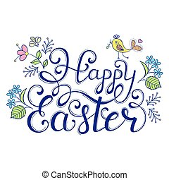 Handwriting inscription Happy Easter