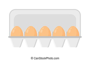 Chicken eggs in a tray. vector illustration on white...
