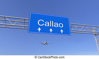 Commercial airplane arriving to Callao airport. Travelling...