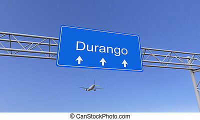 Commercial airplane arriving to Durango airport. Travelling...
