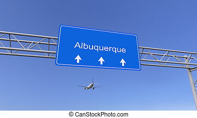 Commercial airplane arriving to Albuquerque airport....