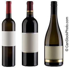 Wine bottles - Three unlabeled wine bottles isolated with...