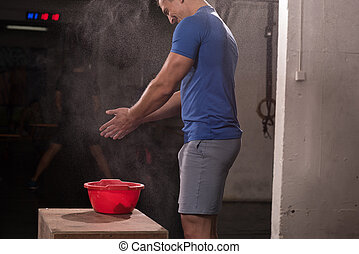Gym Chalk Magnesium Carbonate hands clapping man for...