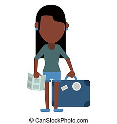 afro american girl map travel suitcase vector illustration...