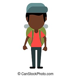 afro american man backpack and cap vector illustration eps...