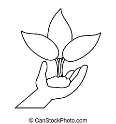 hand holding plant leaves thin line